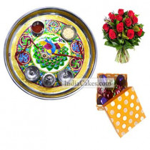 Golden Thali With Green Design And 20 Pcs Polka Dot Orange And White Color Chocolate Box With 10 Red Roses Bunch