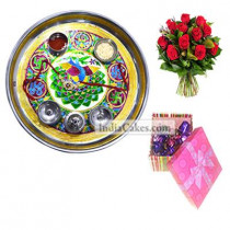 Golden Thali With Green Design And 20 Pcs Pink Chocolate Box With Ribbon With 10 Red Roses Bunch