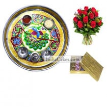 Golden Thali With Green Design And Golden Finish Design Chocolate Or Sweet Box With 10 Red Roses Bunch