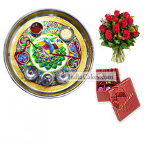 Golden Thali With Green Design And 20 Pcs Red Color Chocolate Box With Ribbon With 10 Red Roses Bunch