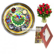 Golden Thali With Green Design And 25 Pcs Red Color Chocolate Box With 10 Red Roses Bunch