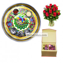 Golden Thali With Green Design And 20 Pcs Red Color Velvet Finish Chocolate Box With 10 Red Roses Bunch