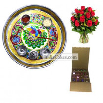 Golden Thali With Green Design And 16 Pcs Golden And Orange Stips Chocolate Box With 10 Red Roses Bunch