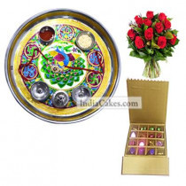 Golden Thali With Green Design And 16 Pcs Golden And Brown Stips Chocolate Box With 10 Red Roses Bunch