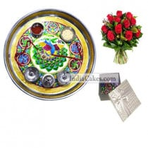 Golden Thali With Green Design And 20 Pcs Silver Color Chocolate Box With 10 Red Roses Bunch