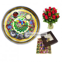 Golden Thali With Green Design And 25 Pcs Brown Color Chocolate Box With 10 Red Roses Bunch