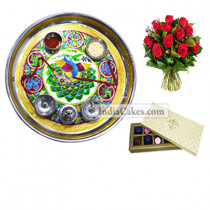 Golden Thali With Green Design And 10 Pcs Creme Color Chocolate Box With 10 Red Roses Bunch