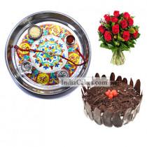 Silver Thali With Design And Half Kg Eggless Black Forest Cake And 10 Red Roses Bunch