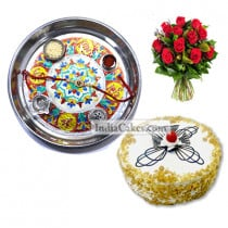 Silver Thali With Design And Half Kg Eggless Butterscotch Cake And 10 Red Roses Bunch