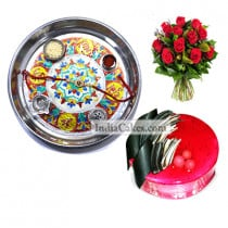Silver Thali With Design And Half Kg Eggless Strawberry Cake And 10 Red Roses Bunch