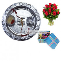 Silver Thali And 20 Pcs Blue Chocolate Box With Ribbon With 10 Red Roses Bunch