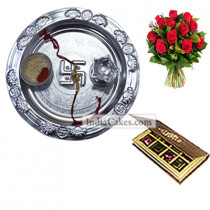 Silver Thali And 8 Pcs Velvet Finish Chocolate Box With 10 Red Roses Bunch
