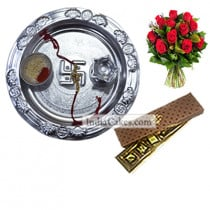 Silver Thali And 5 Pcs Brown Color Chocolate Box With 10 Red Roses Bunch