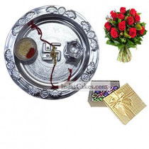 Silver Thali And 20 Pcs Golden Chocolate Box With 10 Red Roses Bunch