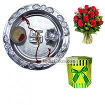 Silver Thali And Hexagon Shaped Green Color Chocolate Box With 10 Red Roses Bunch