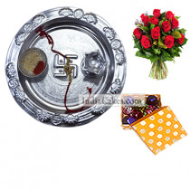 Silver Thali And 20 Pcs Polka Dot Orange And White Color Chocolate Box With 10 Red Roses Bunch