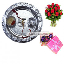 Silver Thali And 20 Pcs Pink Chocolate Box With Ribbon With 10 Red Roses Bunch