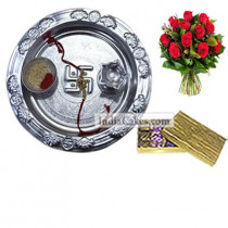 Silver Thali And Golden Finish Design Chocolate Or Sweet Box With 10 Red Roses Bunch