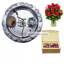 Silver Thali And 20 Pcs Red Color Velvet Finish Chocolate Box With 10 Red Roses Bunch