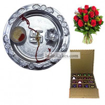 Silver Thali And 16 Pcs Golden And Orange Stips Chocolate Box With 10 Red Roses Bunch