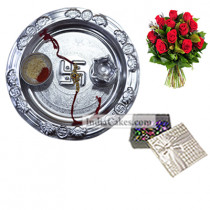 Silver Thali And 20 Pcs Silver Color Chocolate Box With 10 Red Roses Bunch