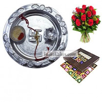 Silver Thali And 25 Pcs Brown Color Chocolate Box With 10 Red Roses Bunch