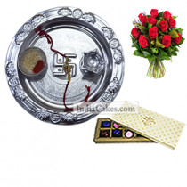 Silver Thali And 10 Pcs Creme Color Chocolate Box With 10 Red Roses Bunch