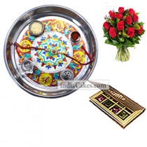 Silver Thali With Design And 8 Pcs Velvet Finish Chocolate Box With 10 Red Roses Bunch