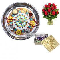 Silver Thali With Design And 20 Pcs Golden Chocolate Box With 10 Red Roses Bunch