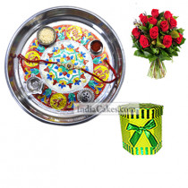 Silver Thali With Design And Hexagon Shaped Green Color Chocolate Box With 10 Red Roses Bunch