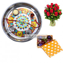 Silver Thali With Design And 20 Pcs Polka Dot Orange And White Color Chocolate Box With 10 Red Roses Bunch