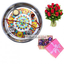 Silver Thali With Design And 20 Pcs Pink Chocolate Box With Ribbon With 10 Red Roses Bunch