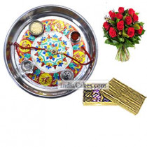 Silver Thali With Design And Golden Finish Design Chocolate Or Sweet Box With 10 Red Roses Bunch