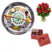 Silver Thali With Design And 20 Pcs Red Color Chocolate Box With Ribbon With 10 Red Roses Bunch