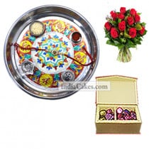 Silver Thali With Design And 20 Pcs Red Color Velvet Finish Chocolate Box With 10 Red Roses Bunch