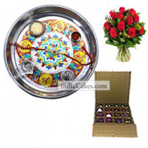 Silver Thali With Design And 16 Pcs Golden And Orange Stips Chocolate Box With 10 Red Roses Bunch