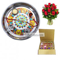 Silver Thali With Design And 16 Pcs Golden And Brown Stips Chocolate Box With 10 Red Roses Bunch