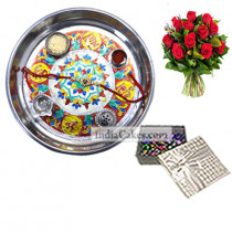 Silver Thali With Design And 20 Pcs Silver Color Chocolate Box With 10 Red Roses Bunch