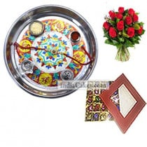 Silver Thali With Design And 25 Pcs Red Color Chocolate Box With 10 Red Roses Bunch