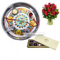 Silver Thali With Design And 10 Pcs Creme Color Chocolate Box With 10 Red Roses Bunch