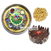 Golden Thali With Green Design And Half Kg Eggless Black Forest Cake And 250 gms Cashew Dryfruits