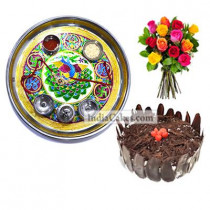 Golden Thali With Green Design And Half Kg Eggless Black Forest Cake And 10 Mix Roses Bunch