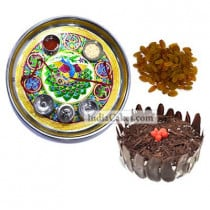 Golden Thali With Green Design And Half Kg Eggless Black Forest Cake And 250 gms Raisins Dryfruits