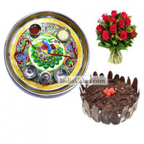 Golden Thali With Green Design And Half Kg Eggless Chocolate Truffle Cake And 10 Red Roses Bunch