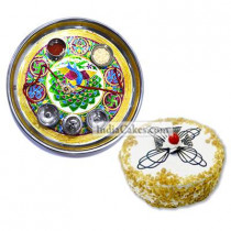 Golden Thali With Green Design And Half Kg Eggless Butterscotch Cake