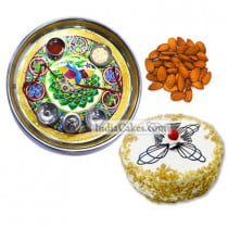 Golden Thali With Green Design And Half Kg Eggless Butterscotch Cake And 250 gms Almond Dryfruits