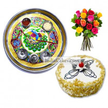Golden Thali With Green Design And Half Kg Eggless Butterscotch Cake And 10 Mix Roses Bunch