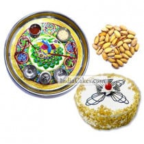 Golden Thali With Green Design And Half Kg Eggless Butterscotch Cake And 250 gms Pista Dryfruits