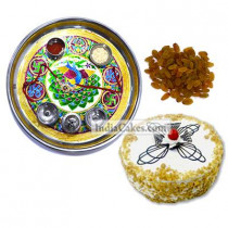 Golden Thali With Green Design And Half Kg Eggless Butterscotch Cake And 250 gms Raisins Dryfruits