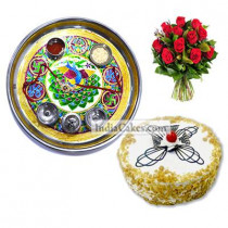 Golden Thali With Green Design And Half Kg Eggless Butterscotch Cake And 10 Red Roses Bunch